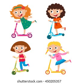 Cute vector illustration of girls on scooter having fun outside. Happy kids riding kick scooters outdoors. Summer break, stylish girls having free time playing isolated on white background.