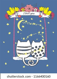Cute vector illustration of hand drawn in love two cats ride on a swing with flower wreath, tape, stars, mother's day card, print for t shirt, baby shower