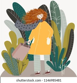 Cute vector illustration of happy girl female with blowing red curly hair wears yellow coat walking with shopping bag after sale in autumn day. Poster, decor for nursery room,  kids wear design, card