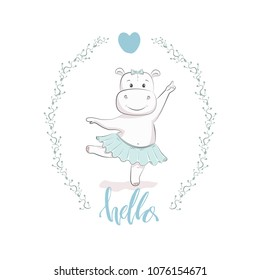 """Cute vector illustration with hippo baby for baby wear and invitation card with phrase """"Hello""""."""