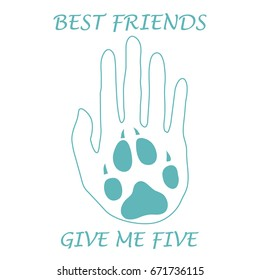 Cute Vector Illustration Of Human Hand Silhouette Holding Paw Dog Friends Forever Give