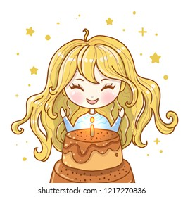 Cute vector illustration. Kawaii Anime girl. Big eyes.Use for postcards, print on clothes or other things. Happy birthday greeting card. Cake with candles. Make a wish