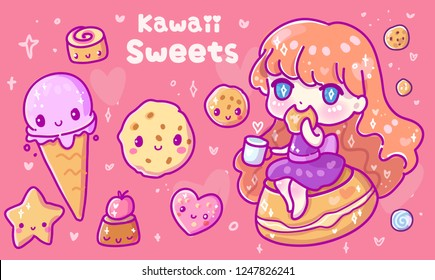 Cute vector illustration. Kawaii Anime girl. Big eyes.Use for postcards, print on clothes. Web sites, Candy or coffee shop