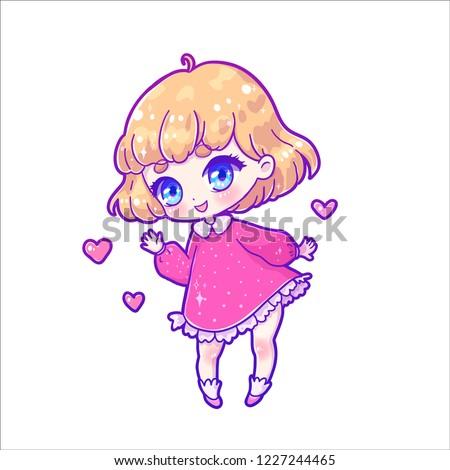 Cute Vector Illustration Kawaii Anime Girl Stock Vector Royalty