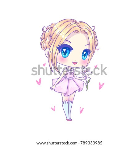 Image of: Anime Cute Vector Illustration Kawaii Anime Girl Big Eyes Use For Postcards Print On Clothes Or Other Things Anner Decorations Contented Traveller Cute Vector Illustration Kawaii Anime Girl Stock Vector royalty
