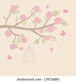 Cute vector illustration in light tones. Branch with leaves and pink roses, butterfly, heart, cage. Can be used for celebration postcard, wedding invitation, etc.