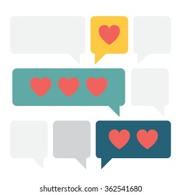 Cute vector illustration of the love messages in the simple text boxes. Warm and happy modern scene of the love sharing in the digital era. Lovers talking about their emotions.