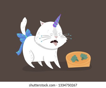 Cute vector illustration with a magic white cat with a unicorn horn. Caticorn shows the emotion of disgust. The concept of something detestable. Can be used for the sticker, patch, phone case, poster.