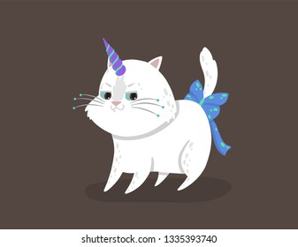 Cute vector illustration with a magic white cat with a unicorn horn conceived something. Caticorn shows the emotion of cunning. The concept of crafty. Can be used for the sticker, patch, phone case.