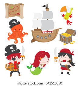Cute vector illustration of pirate theme set. Included in this set pirate boy and girl holding sword, treasure map, treasure chest with gold coin, parrot, mermaid, pirate ship, and octopus