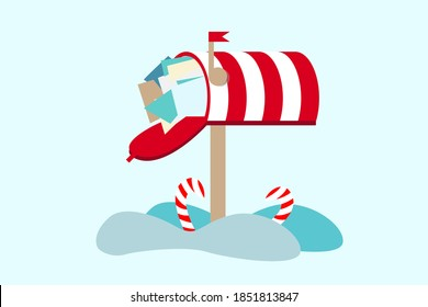 Cute vector illustration of santa's mailbox and snow. Winter theme. Letter for santa claus merry christmas and happy new year. Christmas red box.