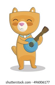 cute vector illustration with smiling cat, cute cat playing the ukulele