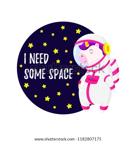 cute vector illustration unicorn astronaut template stock vector