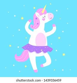 Cute vector illustration. Unicorn ballerina