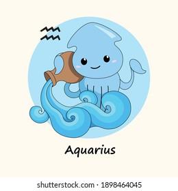Cute vector illustration Zodiac Aquarius. Cartoon cuttlefish.