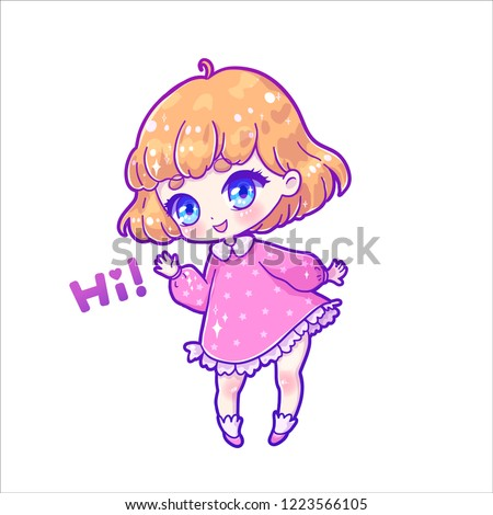 Cute Vector Illustration Hi Kawaii Anime Girl Stock Vector Royalty