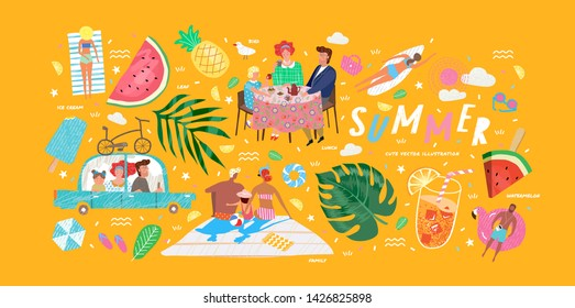 Cute vector illustrations of a family on holiday at the weekend, summer objects: leaves, ice cream, cocktails, sunbathing people on the beach, watermelon and glasses.