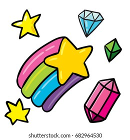 Cute vector isolated on white background outlined set of shining gems, diamond, stars and big rainbow star. Funny fairy magic cartoon style icons