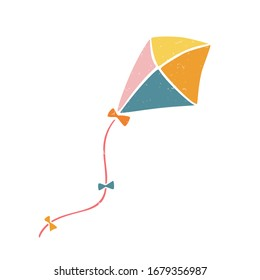 Cute vector kite. Colored kite isolated on a transparent background. Vector shabby hand drawn illustration