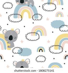 Cute vector Koala with rainbow seamless pattern