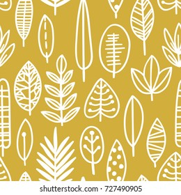 Cute vector leaf seamless pattern. Elegant beautiful nature ornament for fabric, wrapping and textile. Scrapbook black and white paper