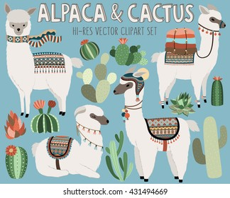 Cute Vector Llama and Cactus Design Elements