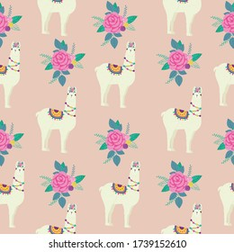Cute vector llama and rose pattern with polka dots in the background. Great for kids textiles