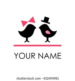 Cute vector logo. Birds. Black. Isolated. Silhouette. Sign. Bride, Groom, Pictograph,  Symbol. Icon. Element. Family. Happiness. Love. Mom. Dad.  Birds. Newlyweds. Monochrome. Card. Wedding. Bird. Pet
