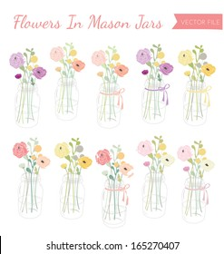Cute Vector Mason Jars With Flowers Bouquets