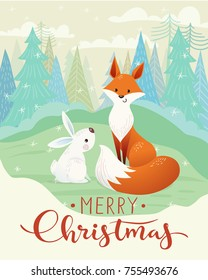 Cute vector Merry Christmas card with fox and rabbit