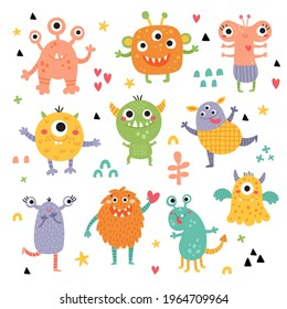 cute vector monsters set, funny clipart collection for kids, perfect for children related products