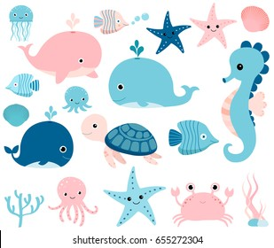 Cute vector ocean set with sea creatures for girls and boys summer baby shower and birthday designs
