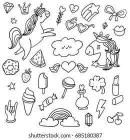 Cute vector outlined illustrations set of flying unicorn with rainbow hairs around shining star, rainbow and clouds in sky, beautiful magic unicorn horse head doodle style. isolated white background