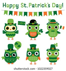 Cute vector owls set for St. Patricks Day