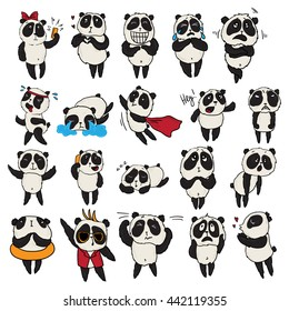 Cute vector pandas with different emotions.Set Vector Stock Illustrations isolated Emoji character cartoon Panda stickers emoticons with different emotions for site, info graphic, animation, comic