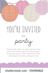 Cute Vector Party Invitation With Paper Lanterns.
