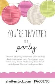 Cute Vector Party Invitation With Round Paper Lanterns.