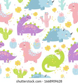 Cute vector pastel pattern with funny dinosaurs for children, seamless background with dino