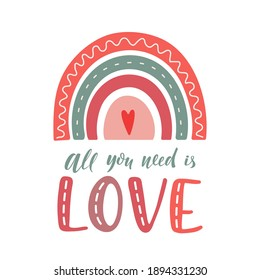 Cute vector pastel rainbow with heart and hand lettering isolated on white background. Valentine's day. For greeting card, textile, print, nursery decor, children decoration, kids room.