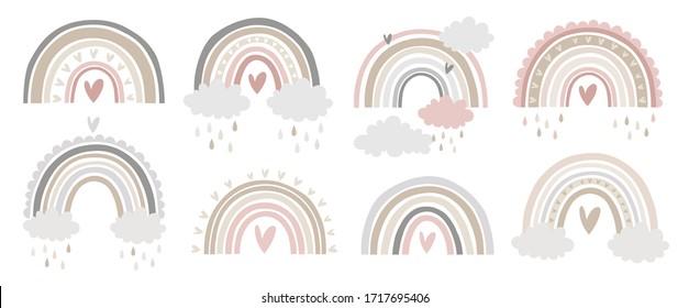 Cute vector pastel rainbow set with drops and heart isolated on white background printable poster for kids