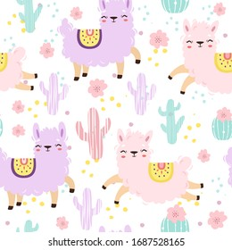 Cute vector pattern with alpacas and cactus. gentle pastel colors, cartoon style, baby and mom