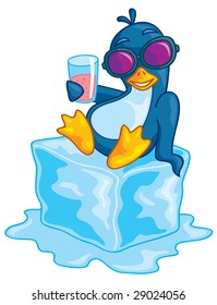 Cute vector penguin wearing sunglasses relaxing on a block of ice enjoying a beverage. Drawn in a humorous cartoon style.