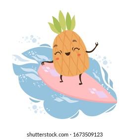 Cute vector pineapple on a surf board. ocean wave surfing