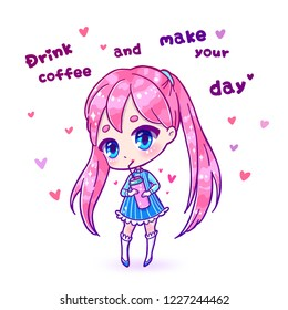 Cute vector pink  illustration. Kawaii Anime girl. Use for postcards, print on clothes, juice or other things. Drink coffee or juice from a tall Mug.