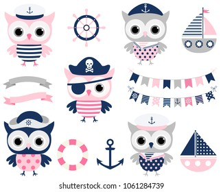 Cute vector pirate sailor owl birds and sailing party design elements in blue, pink and grey colors - boats, helms and buntings for summer, ocean and nautical themed birthdays for girls and boys