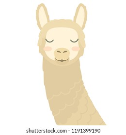cute vector portrait of animal: Llama. flat stylized image of cartoon animal with closed eyes and blush