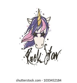 Cute vector a portrait of a unicorn rock star. Funny character with purple mane surrounded by star dust for sticker, patch badge, card, t-shirt and funny children's design.
