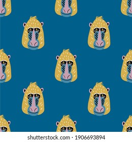 Cute vector primates in flat style.  Mandrill - primates cartoon character. Vector seamless pattern