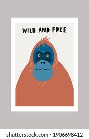 Cute vector primates in flat style.  Orangutan - primates cartoon character. Vector print in modern style