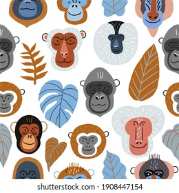 Cute vector primates in flat style. Chimpanzee, Orangutan, Gorilla, Lion-tailed macaque, Mandrill, Pygathrix roxellana, Macaca fuscata - primates cartoon character. Vector seamless pattern